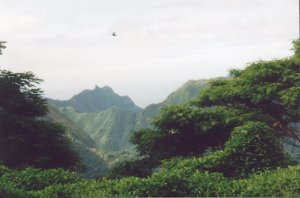 Volcanic interior of Nuku Hiva is a bit mountainous