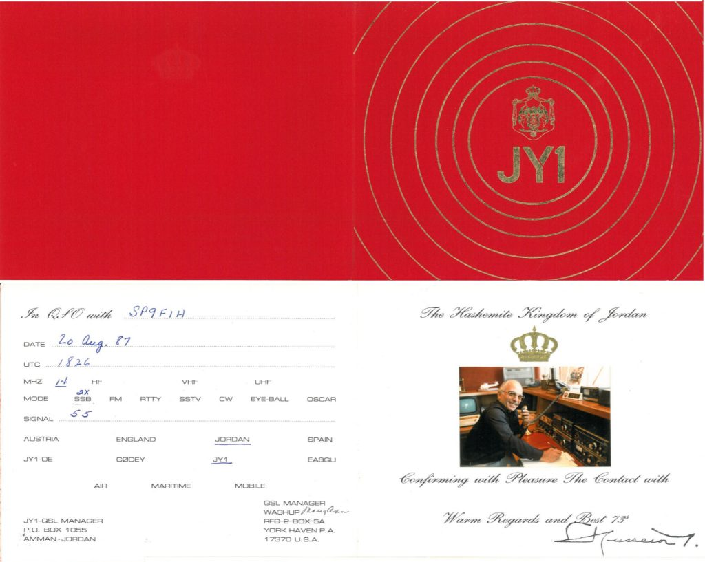 QSL card from JY1